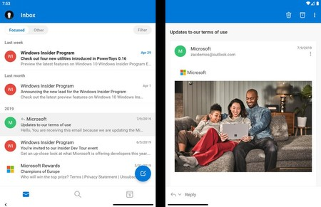 Outlook Surfaceduo Screenshot