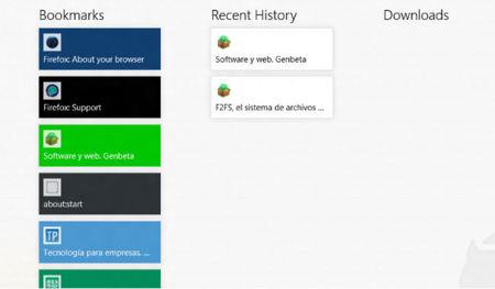 Firefox para Windows 8, esquema de color de favoritos