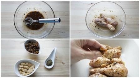 Pollo al horno con comino, pasas y almendras