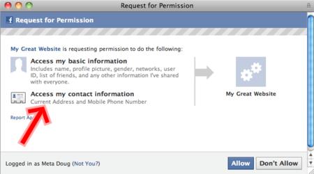 Las aplicaciones de Facebook pueden ahora obtener tu teléfono o dirección física