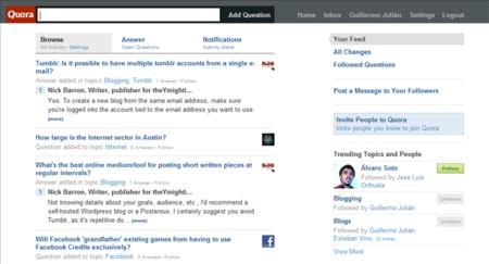 La página principal de Quora