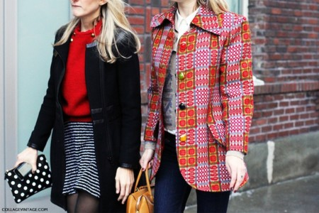Nyfw New York Fashion Week Mixing Print Street Style Say Cheese Collage Vintage
