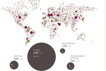 Distribución internacional de las tiendas en 2008
