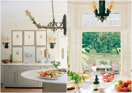 espejo sobre la cocina, buffet y vistas