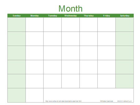 Blank Calendar Template Free Printable Blank Calendars By Vertex42