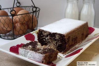 Plum cake de chocolate marmolado. Receta