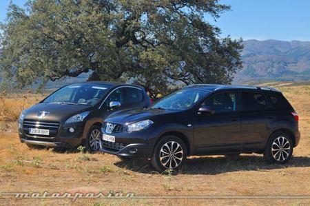 Nissan Qashqai 1.6 dCi 4x4 contra Peugeot 3008 HYbrid4, comparativa