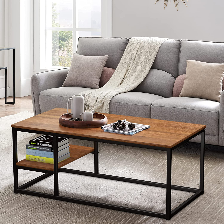 Mesa baja con estantería, mesa baja moderna, mesa de salón con función de almacenamiento, mesa rectangular 102 × 50 × 40 cm con estructura de metal (nogal)