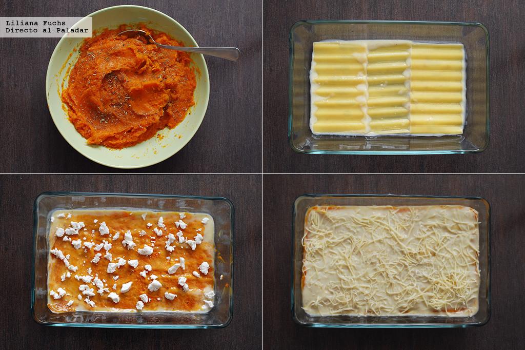 Lasaña de calabaza asada y queso de cabra. Receta vegetariana.Pasos
