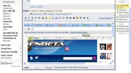 Gmail incorpora la posibilidad de copiar y pegar imágenes en cada correo
