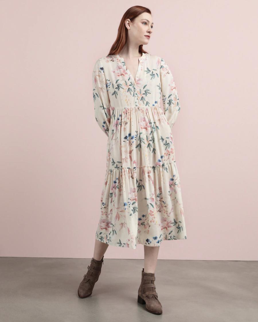Vestido midi con estampado floral multicolor