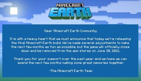 Minecraft Earth Comunicado Microsoft