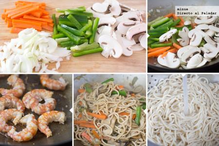 Wok de tallarines, gambas y verduras con salsa teriyaki - elaboración