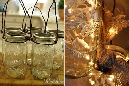 Lámpara con botes de cristal