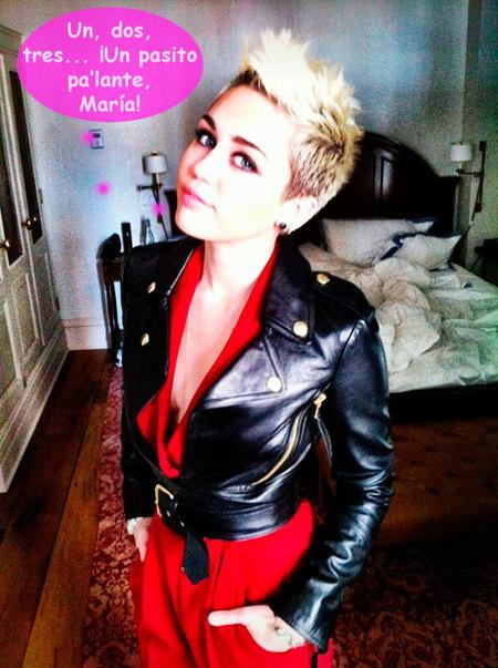 Miley Cyrus se saca una foto con su cachorrito... ¡y una hierba verde chunga!