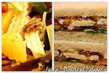 Comida para llevar. Ensalada de pasta con naranja y nueces de pecán, y sandwich de tomate y brie