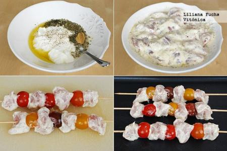 Brochetas de pavo al yogur. Receta saludable