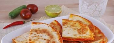 Quesadillas de sobrasada y queso Havarti. Receta de aperitivo