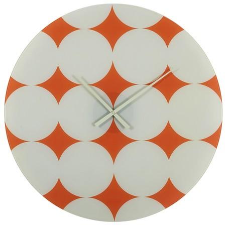 Maisons Du Monde Reloj De Cristal Naranja Con Motivos Blancos 55 50 Euros