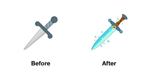 Dagger Emoji Android-OS P Before After