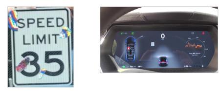 A la izquierda la señal modificada. A la derecha, el HUD del Tesla indicando que la señal marca 85 mph