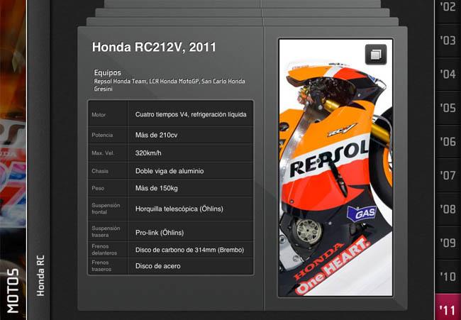 Menú de motos en MotoGP History