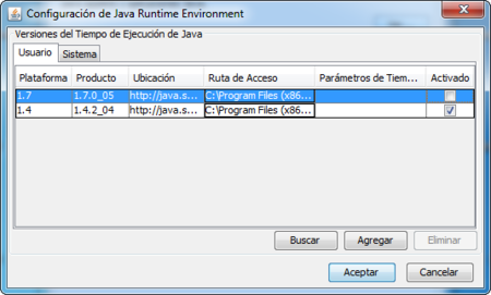 Desactivar Java 1.7 en Windows