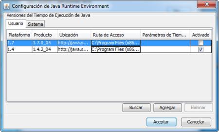Desactivar Java 1.7 en Windows