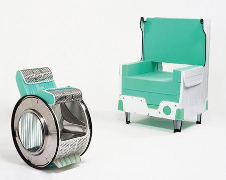 Recicladecoración: asientos fabricados a partir de una lavadora