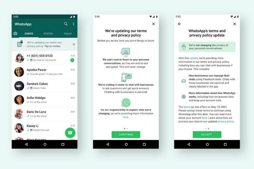 WhatsApp se retracta: la nueva política de privacidad llega el día 15, pero si no la aceptamos no se desactivará nuestra cuenta