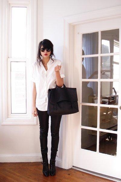 camisa blanca pantalón negro