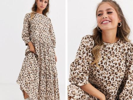Vestido Largo A Capas Con Estampado De Leopardo De Asos Design