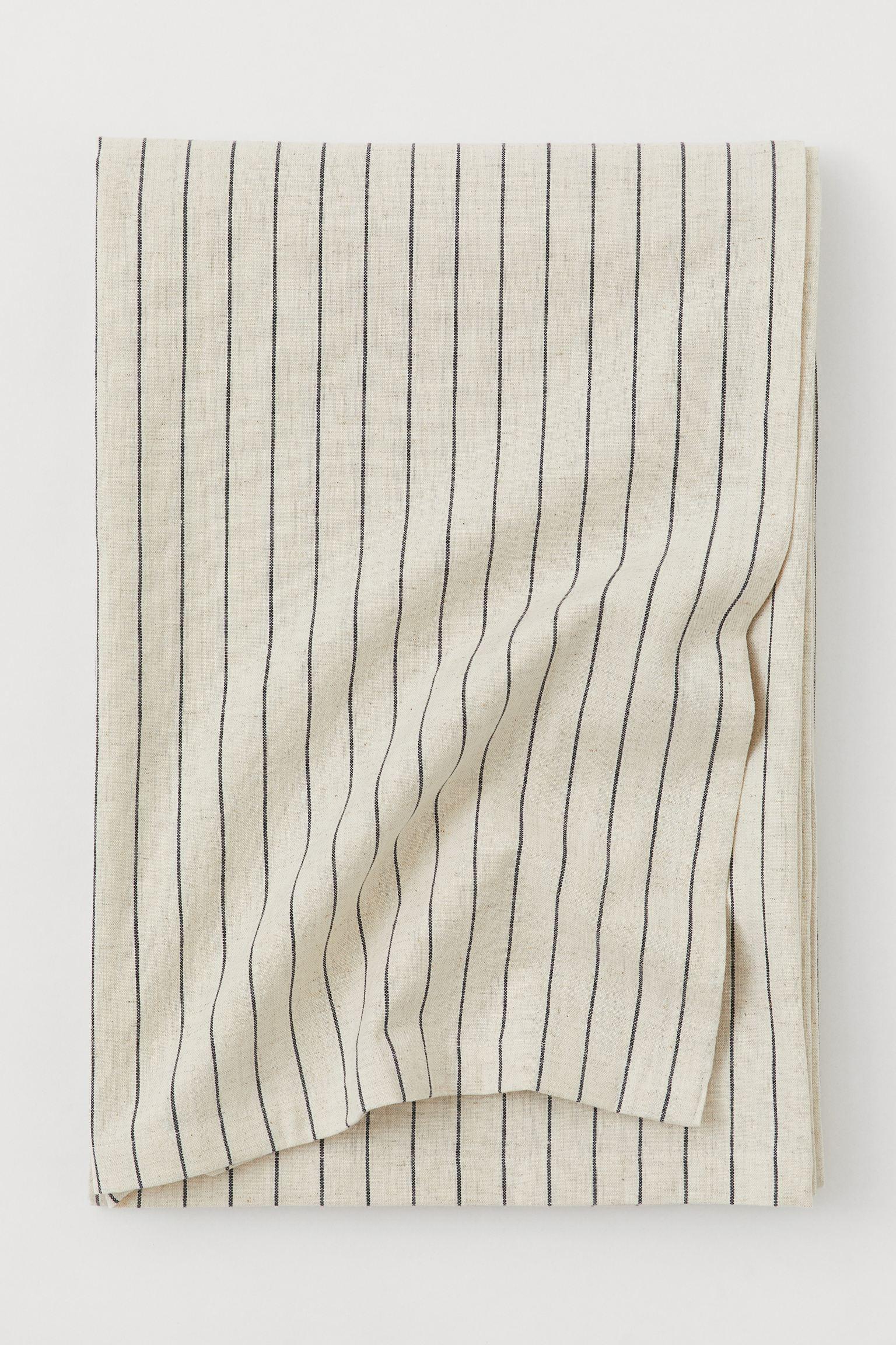 Mantel a rayas de lino y algodón