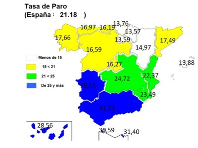 Mapa del paro por autonomías: grandes diferencias norte-sur