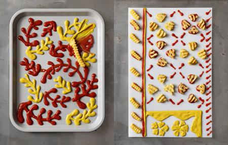 Piezas de arte moderno hechas con alimentos ordinarios