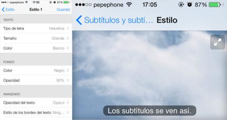 Subtítulos personalizados iOS 7