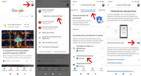 Disable the history of notifications through the app of Google