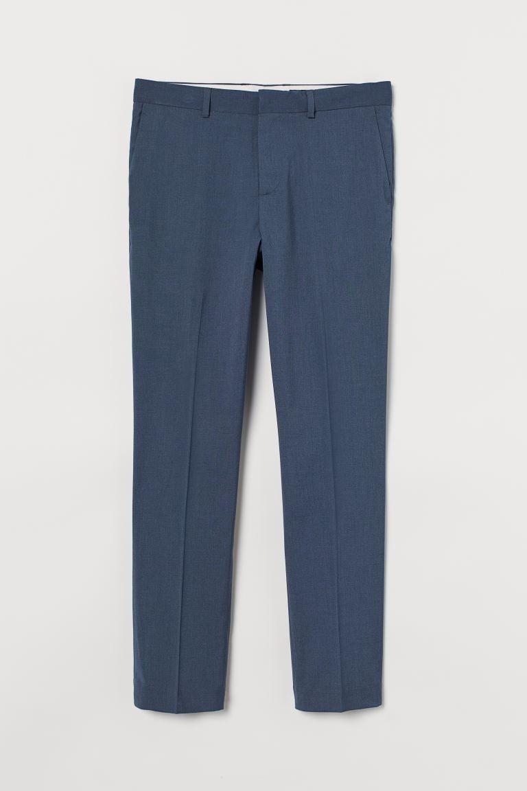 Pantalón de traje Slim Fit color azul acero