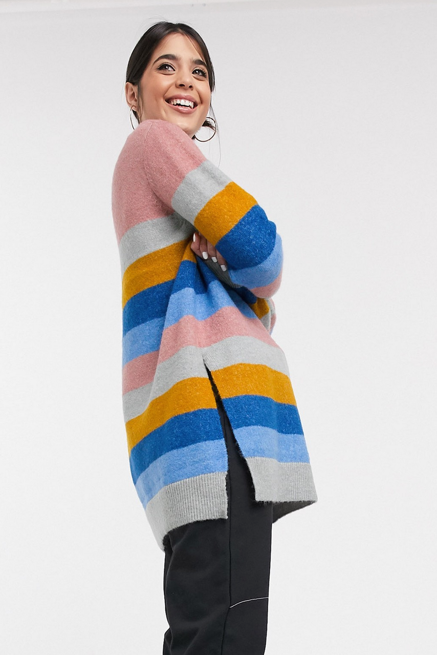 Jersey con diseño a rayas y cuello subido de Kaffe