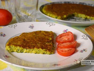 Tortilla jugosa vegana de calabacín. Receta saludable
