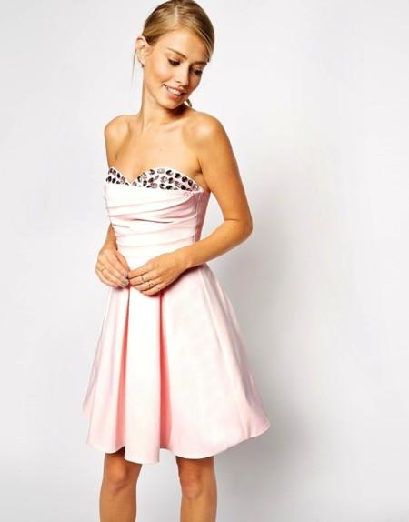 vestido rosa piedras asos