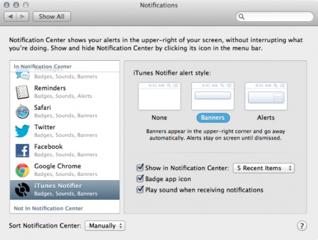 iTunes notifier
