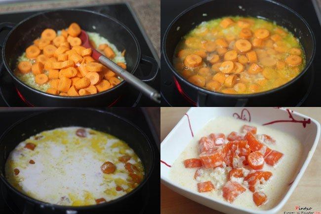 Zanahorias a la crema. Pasos