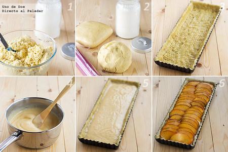 Receta paso a paso de tarta de melocotón y crema