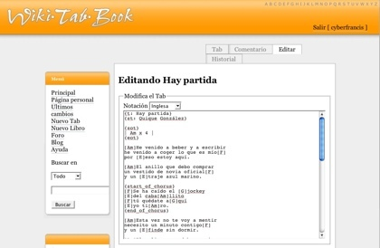 WikiTabBook.com, edición de tablaturas en formato wiki