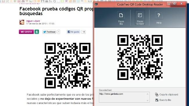 Accede al contenido de códigos QR desde el escritorio con QR Code Desktop Reader