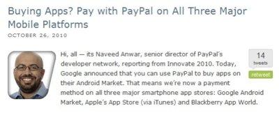 PayPal podría convertirse en medio de pago de las principales tiendas de aplicaciones móviles