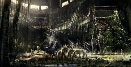 Jurassic World y Jurassic Park vieja entrada del parque