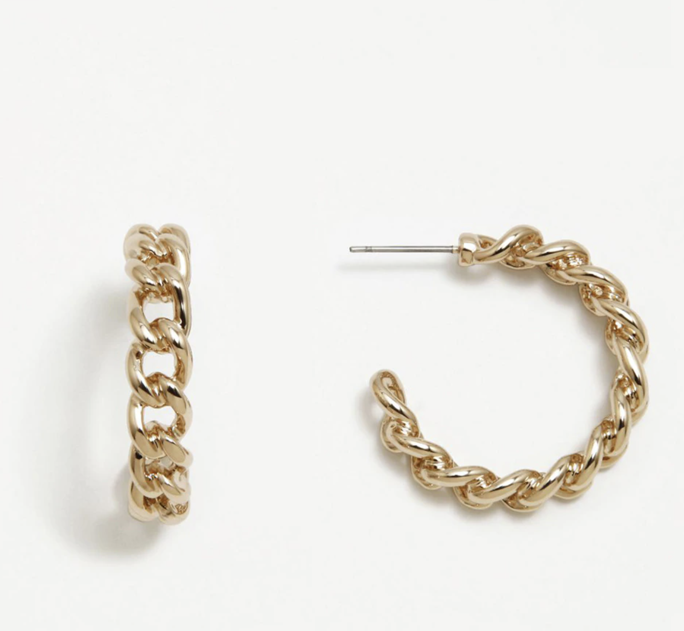 Pendientes de aro Pertegaz Barbada de cadena dorados