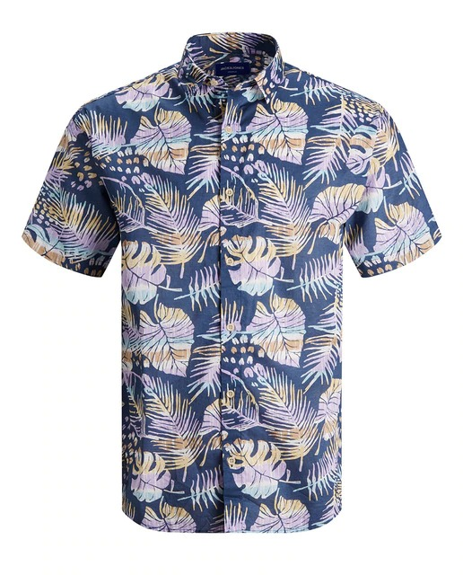 Camisa de hombre regular estampada azul